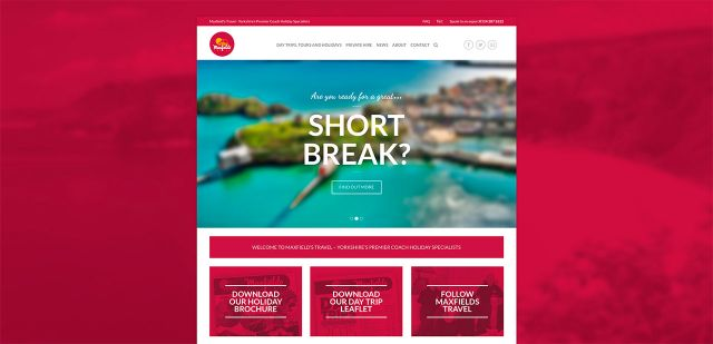 Maxfields Travel website design and build